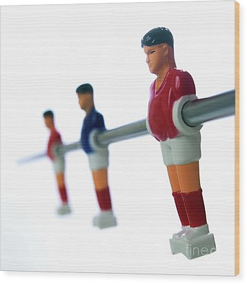 Football Figurines Wood Print by Bernard Jaubert
