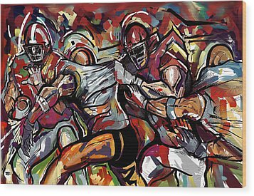 Football Frawl Wood Print by John Jr Gholson