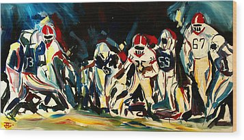 Football Night Wood Print by John Jr Gholson