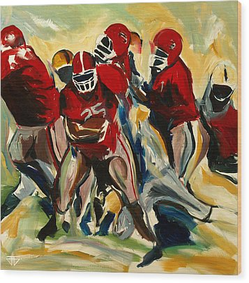 Football Pack Wood Print by John Jr Gholson
