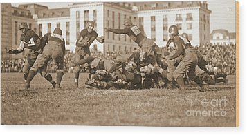 Football Play 1920 Sepia Wood Print by Padre Art