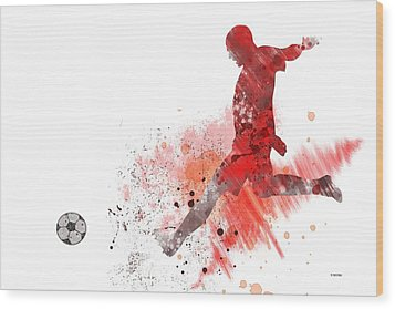 Football Player Wood Print by Marlene Watson