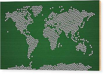 Football Soccer Balls World Map Wood Print by Michael Tompsett