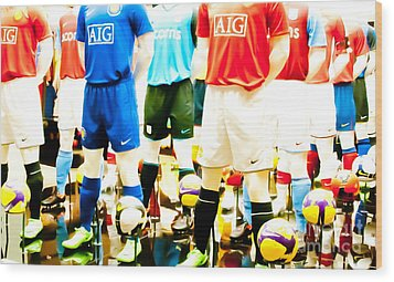 Footballers Unite Wood Print by Andy Smy