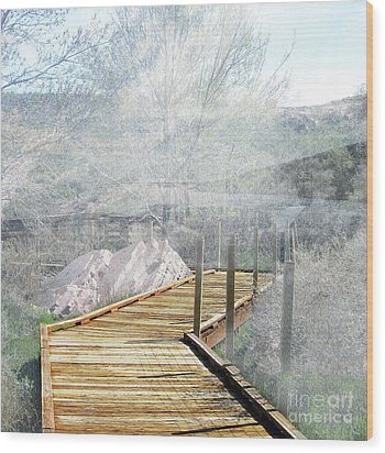 Footbridge In The Clouds Wood Print