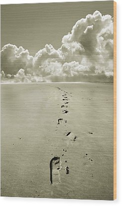 Footprints In Sand Wood Print by Mal Bray
