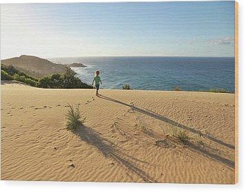 Footprints In The Sand Dunes Wood Print