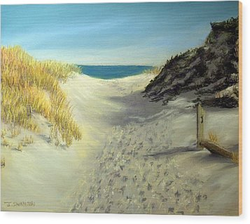 Footprints In The Sand Wood Print by Joan Swanson