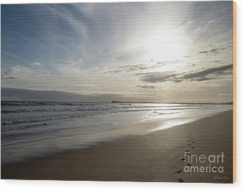Wood Print featuring the photograph Footprints In The Sand by Linda Lees