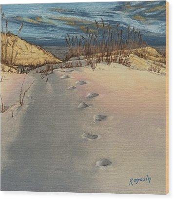 Footprints In The Snowy Dunes Wood Print