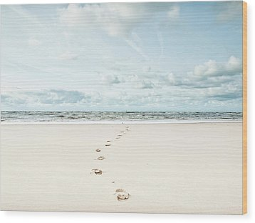 Footprints Leading Into Sea Wood Print by Dune Prints by Peter Holloway