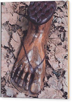 Footstool Wood Print by Lionel Larkin