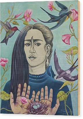 For Frida Wood Print by Sheri Howe