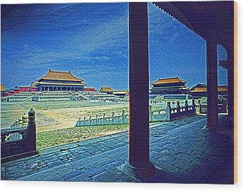 Forbidden City Porch Wood Print by Dennis Cox ChinaStock