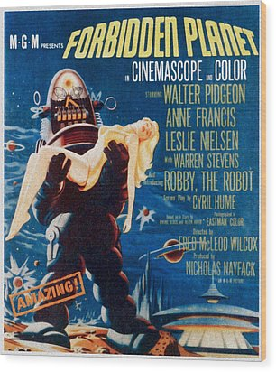 Forbidden Planet, Left Robby The Robot Wood Print by Everett