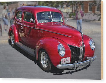 Ford 40 In Red Wood Print by Larry Bishop