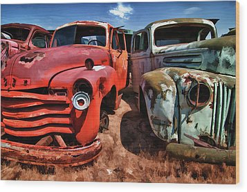 Ford And Chevy Standoff Wood Print by Jeffrey Jensen
