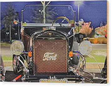 Ford Black Hot Rod Old School Wood Print by Pictures HDR