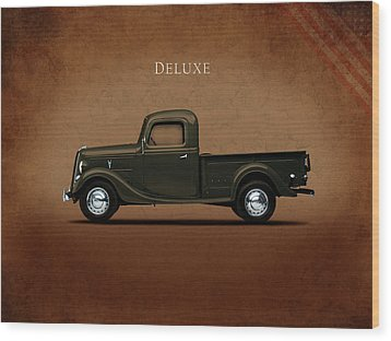 Ford Deluxe Pickup 1937 Wood Print by Mark Rogan