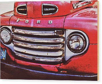 Ford Grille Wood Print by Michael Thomas