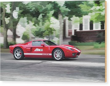 Wood Print featuring the photograph Ford Gt Entering Lake Mills by Joel Witmeyer