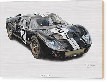 Ford Gt40 Wood Print