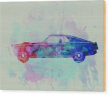 Ford Mustang Watercolor 1 Wood Print by Naxart Studio