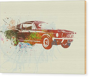 Ford Mustang Watercolor Wood Print by Naxart Studio