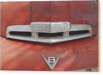 Ford V8 Emblem Wood Print