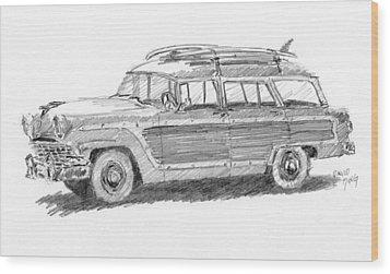 Ford Wagon Sketch Wood Print