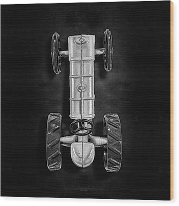 Fordson Tractor Top Bw Wood Print by YoPedro