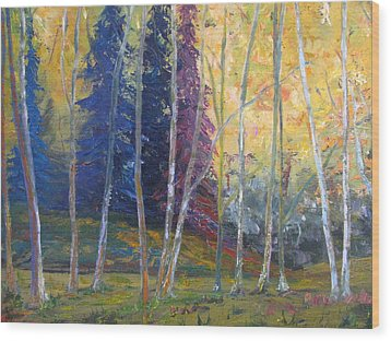 Forest At Twilight Wood Print by Belinda Consten
