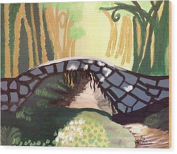Forest Bridge Wood Print