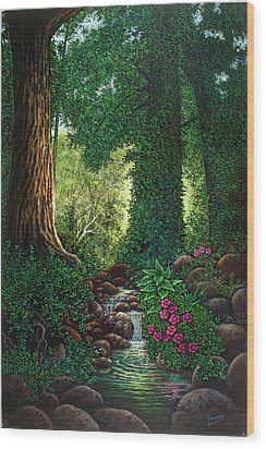 Wood Print featuring the painting Forest Brook II by Michael Frank
