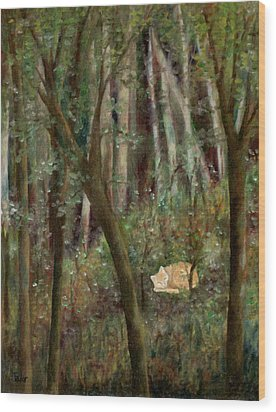 Forest Cat Wood Print by FT McKinstry