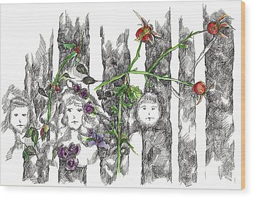 Wood Print featuring the drawing Forest Faces by Cathie Richardson