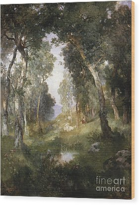 Forest Glade Wood Print by Thomas Moran
