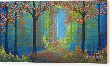 Forest Glow Wood Print by Rebecca Parker