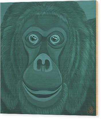 Forest Green Orangutan Wood Print