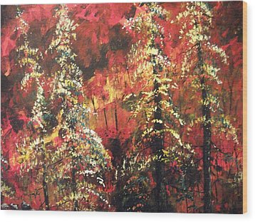 Wood Print featuring the painting Forest In The Red by Dan Whittemore