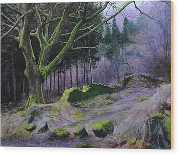 Wood Print featuring the painting Forest In Wales by Harry Robertson