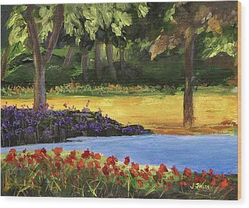 Wood Print featuring the painting Forest Lake by Jamie Frier