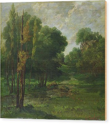 Forest Landscape Wood Print by Gustave Courbet