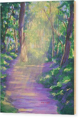 Forest Light Wood Print by Becky Chappell