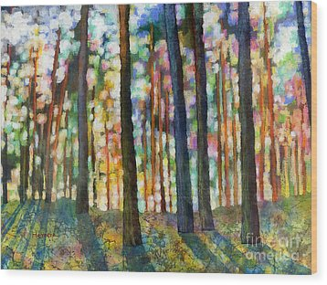 Wood Print featuring the painting Forest Light by Hailey E Herrera