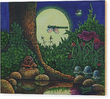 Wood Print featuring the painting Forest Never Sleeps Chapter- Full Moon by Michael Frank