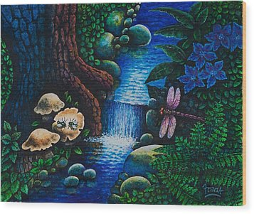 Forest Never Sleeps Chapter- Midnight Rendezvous Wood Print by Michael Frank