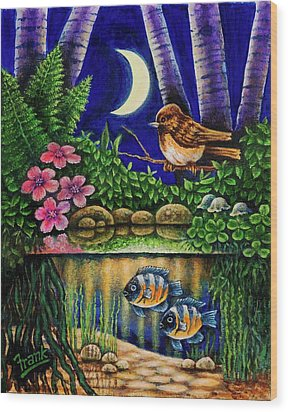 Wood Print featuring the painting Forest Never Sleeps Chapter Of Quarter Moon by Michael Frank