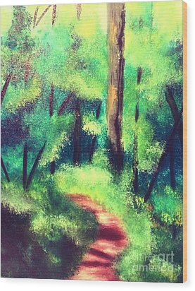 Wood Print featuring the painting Forest Path by Denise Tomasura