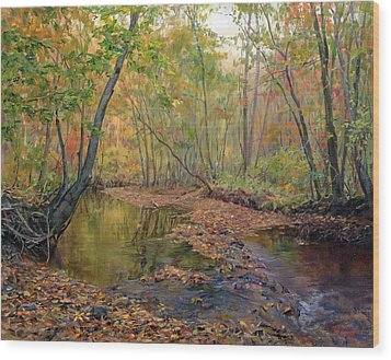 Forest River In Early Fall Wood Print
